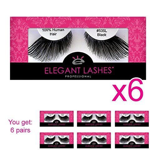 Elegant Lashes #535L Thick Long Black Human Hair False Eyelashes for Drag Queen Halloween Dance Costume (Pack of -