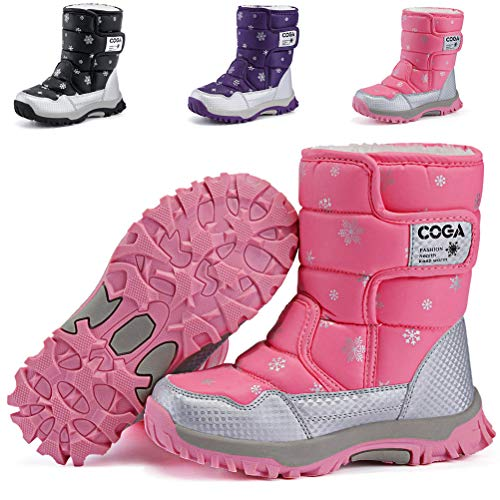 DADAWEN Boy's Girl's Outdoor Waterproof Cold Weather Snow Boots(Toddler/Little Kid/Big Kid) Pink US Size 12.5 M Little Kid ()