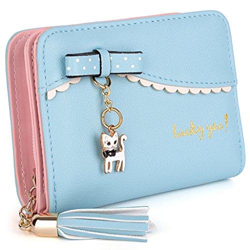"UTO Mujer largo Wallet PU Cuero Clutch 5.5"" Phone Case 12 Tarjeta Slots Holder Cremallera Pocket Cartera Negro Bebe Azul"