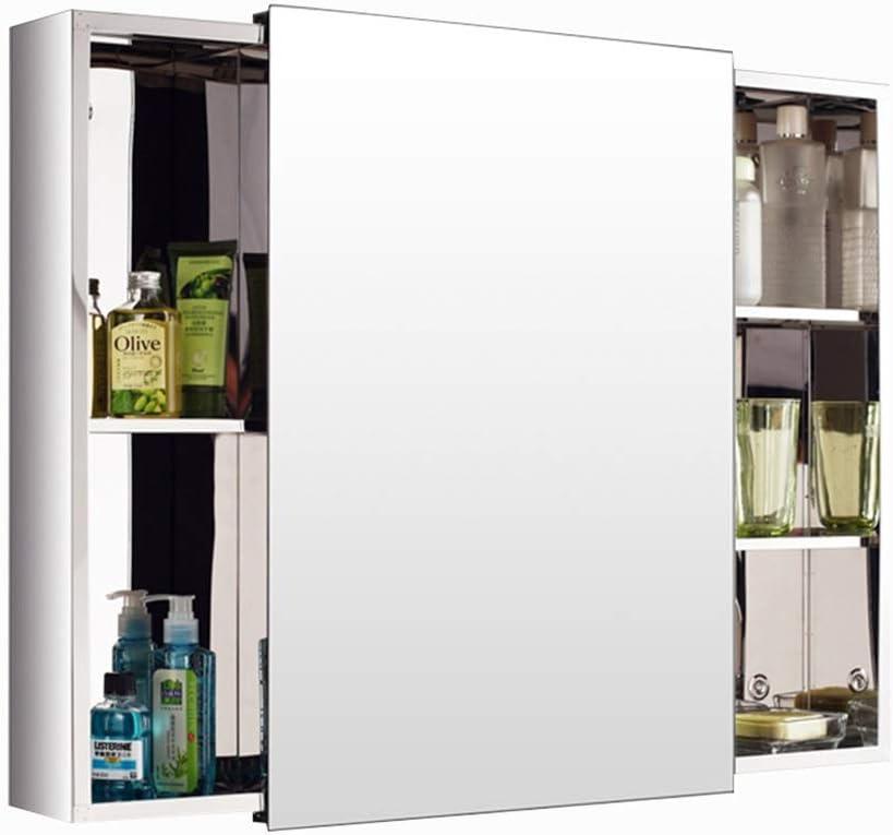 Mueble de baño con Espejo de Acero Inoxidable Mueble de baño con Puerta con Espejo Mueble de Almacenamiento montado en la Pared, diseño de Puerta corredera (Color : Silver, Size : 80 *