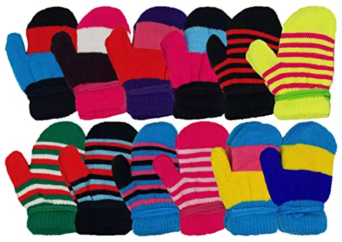 12 Pairs Winter Magic Gloves for Kids Toddlers, Stretchy Warm Bulk Pack Boys Girls Children (12 Pairs Mittens)