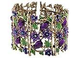 Alilang Antique Floral Purple Violet Amethyst Crystal Rhinestone Flower Garden Bracelet Bangle Cuff