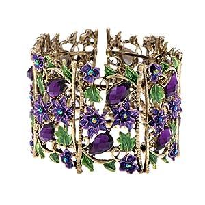 Alilang Antique Hollow Filligree Floral Crystal Rhinestone Flower Garden Bracelet Bangle Cuff
