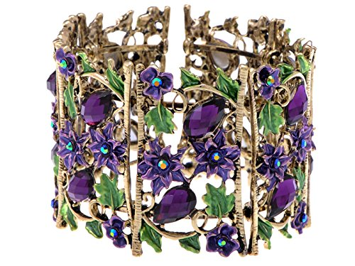Alilang Antique Floral Purple Violet Amethyst Crystal Rhinestone Flower Garden Bracelet Bangle Cuff