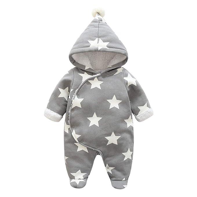 Hzjundasi Pelele para Bebés - Ropa Bebe Invierno Estrella Imprimir Mamelucos con Capucha Ropa para Recién Nacido Niños Niñas 0-24 Meses: Amazon.es: Ropa y ...