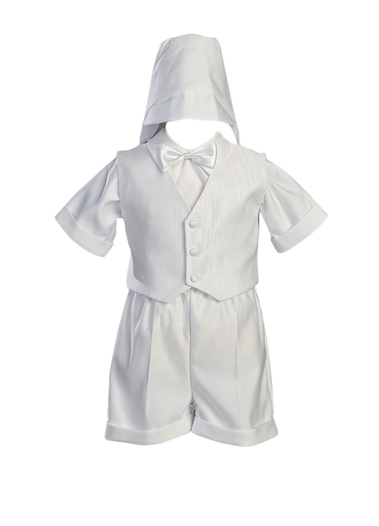 XS White Satin Christening Baptism Short Set with Vest and Hat 0-3 Months