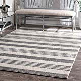 "nuLOOM Striped Kelsi Runner Rug, 2' 8"" x 8', Grey"