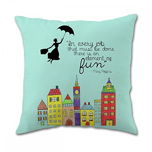 Mary Poppins Fun Quote Pillow Covers 16x16 inch twin side