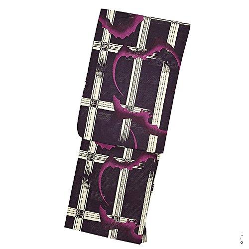 想像する変動する安全な[KIMONOMACHI] 浴衣 レディース 2点セット 2018 「紫色 格子にコウモリ」 サイズS/F/TL/LL