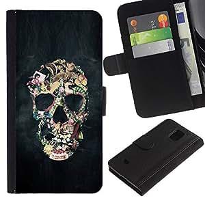 iKiki Tech / Cartera Funda Carcasa - Biker Black Smoke Life Skull Death - Samsung Galaxy S5 Mini, SM-G800, NOT S5 REGULAR!