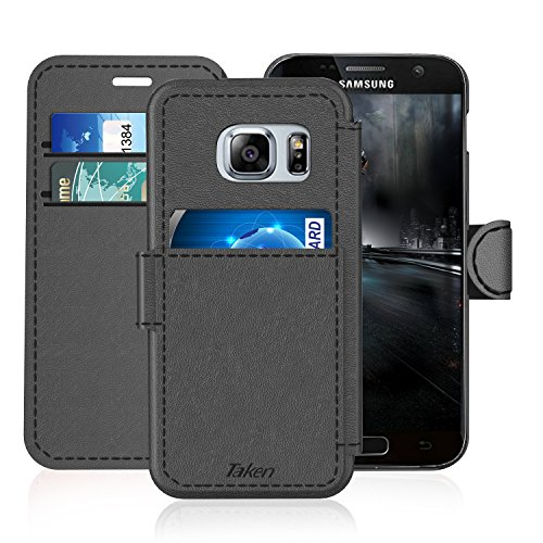 Samsung Galaxy S 7 Leather Wallet Case with Credit Cards Slot and Metal Magnetic Clip, TAKEN Galaxy S7 Plastic Flip Case / Cover, Vintage and Fashion, Durable and Shockproof Holster (Gray) 2017 by Taken