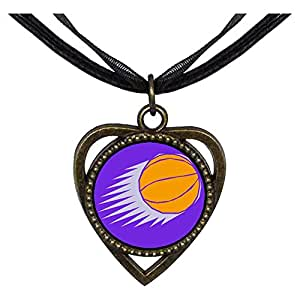 Chicforest Bronze Retro Style Olympics maneuver the ball Heart Shaped Pendant