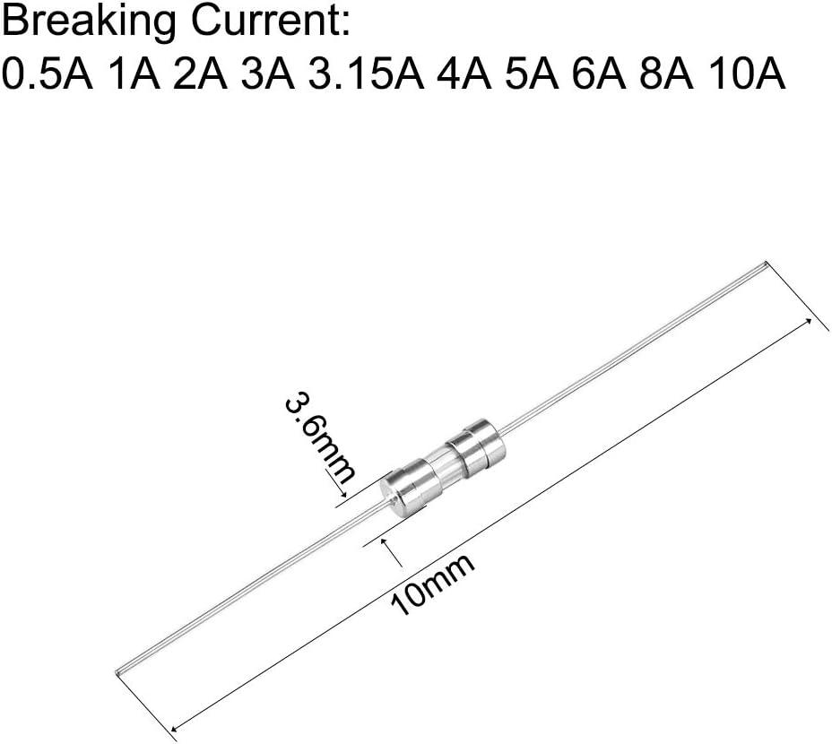 10mm 250V sourcing map Coup Lent Verre Cartouche Tube Temps Retard Fusible Kits Fils 3.6