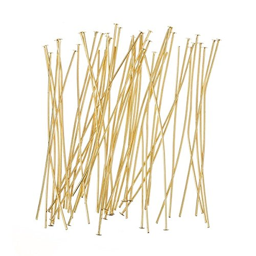 Flat Head Pins 50mm (2 Inch) Gold Plated 0.60mm - PK50 Beads Jar