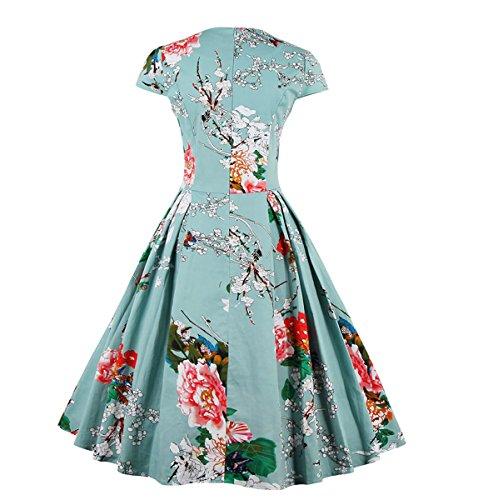E-Girl M131718D Vintage pin-up 50's robe de soirée,bal cocktail Rockabilly Swing,Bleu,XL