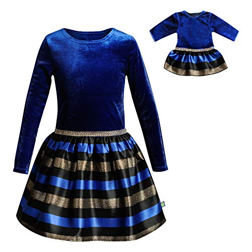 Dollie & Me Girls' Big Velvet/Stripe Matching Doll Dress, Blue/Multi, 10 ()