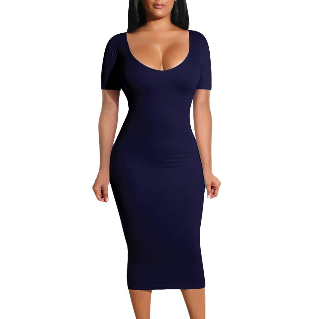 FarJing Womens Sexy O-Neck Bodycon Short Sleeve Slim Hollow Halter Pleated Cocktail Party Dress(XL,Navy