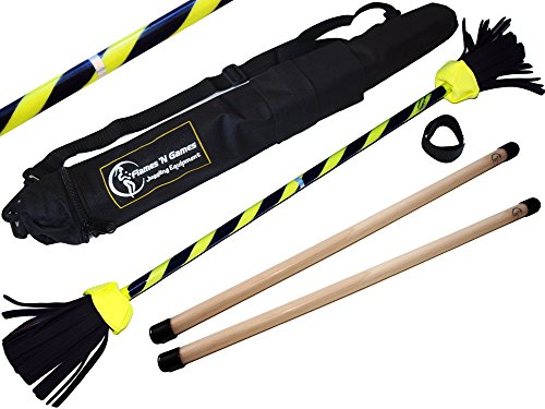 (Flames N Games FLASH Flowerstick Set (UV Grip Deco) Silicone WOODEN Handsticks! Ultra Strong Fibreglass core + Travel Bag! Ideal For Beginners & Pros! (Yellow))
