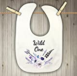 Baby Bib - Wild One with Purple Flowers and Feathers