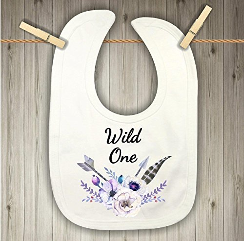 Baby Bib - Wild One with Purple Flowers and Feathers by Sticks, Hooks, and Yarn
