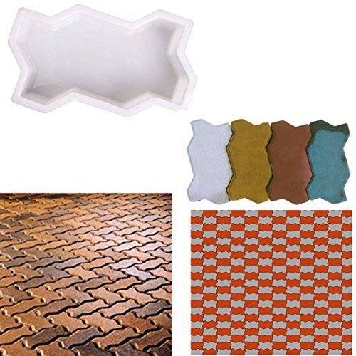JTW 2Pcs DIY Three Waves shape Brick Path Mold path way concrete paving brick Pavement Walkway mold Plastic (13 x 24 x 6 cm) White color (Brick Patio Ideas Backyard)