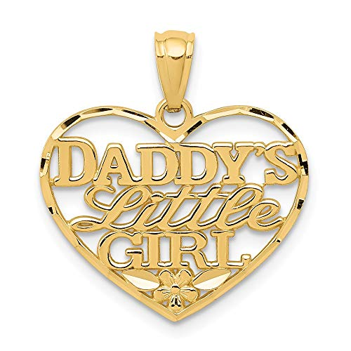14k Yellow Gold Daddys Little Girl Heart Pendant Charm Necklace Love S/love Message Fine Jewelry Gifts For Women For Her