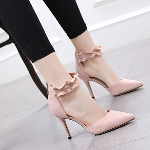 Heel Elegant Mouth Buckles 5Cm Lace Shallow Heels Work Sexy Leisure Spring Women High Shoes Fine 36 Shoe Sharp Head Single MDRW Pink Lady 6 Sexy Zipper xzaqFF