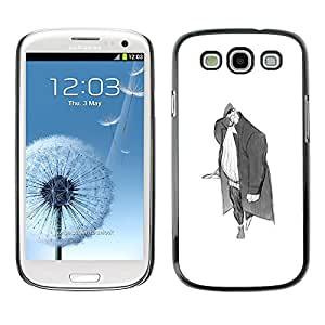 A-type Colorful Printed Hard Protective Back Case Cover Shell Skin for SAMSUNG Galaxy S3 III / i9300 / i747 ( Man Big Grey Pencil Art Drawing Wanderer )