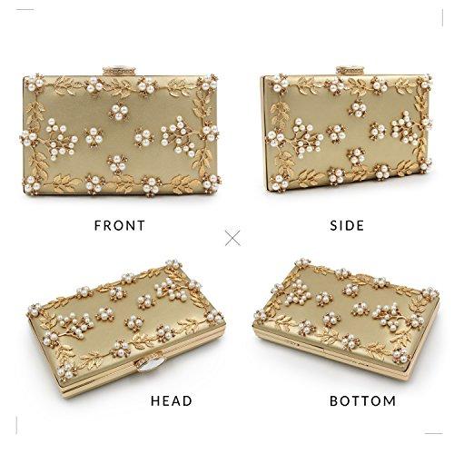 Milisente Mujer Noche Bolsos Pearls Clutch Bag Bolsos de Mano (Azul) Gold