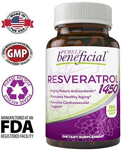 51d tqNztmL - RESVERATROL1450-90day Supply, 1450mg per Serving of Potent Antioxidants & Trans-Resveratrol, Promotes Anti-Aging, Cardiovascular Support, Maximum Benefits
