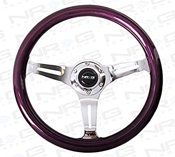 350mm 3 chrome spokes, purple pearl//flake paint NRG Innovations ST-015CH-PP Classic Wood Grain Wheel