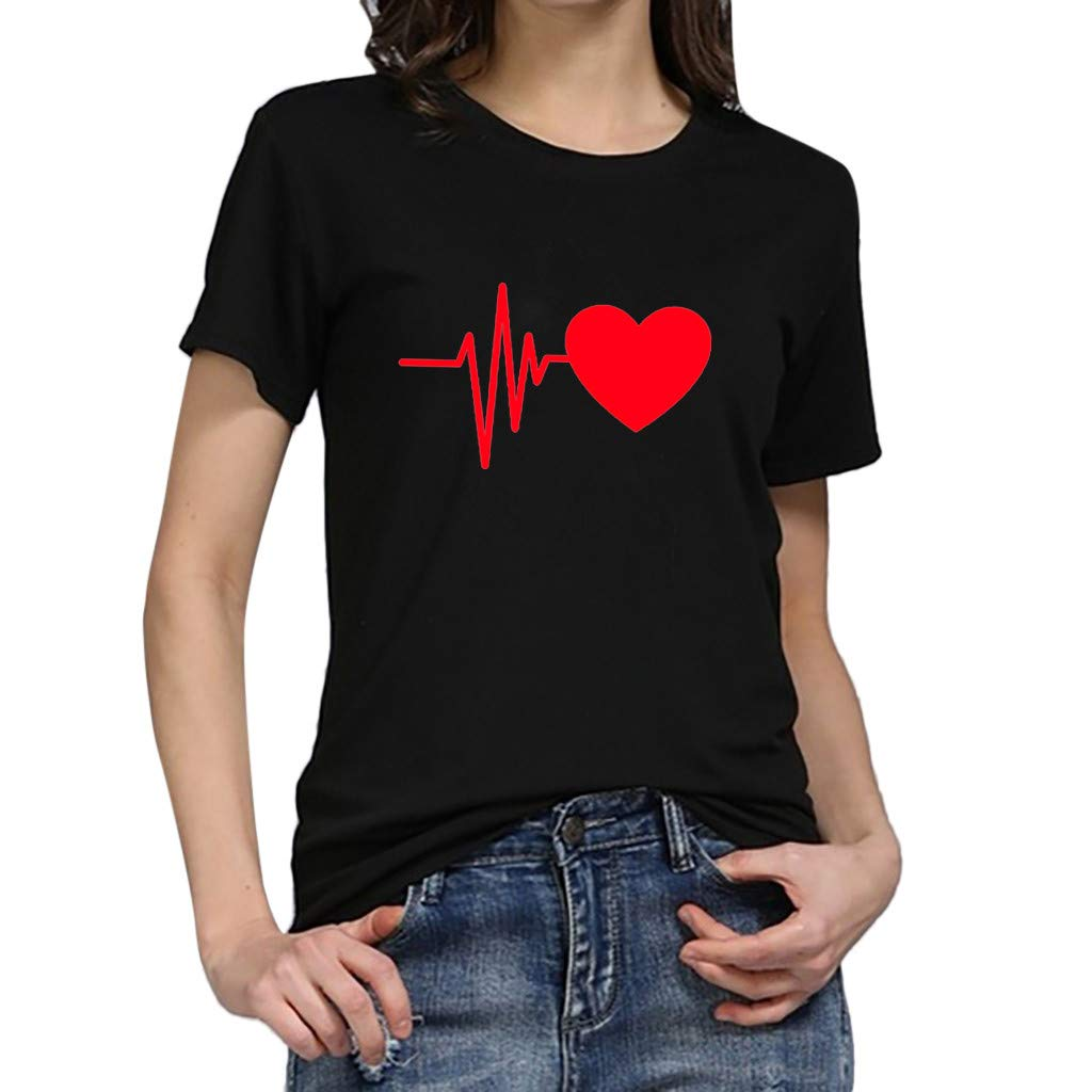 Women T-Shirt Short Sleeve Heart Print Round Neck Solid Color Casual Tunic Tops Blouse (XL, C)