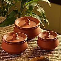 vaghbhatt Handmade Clay Handi with lid/Clay Dal Handi/Clay Dahi Handi/Clay Curd Pot/Set of 3 pcs