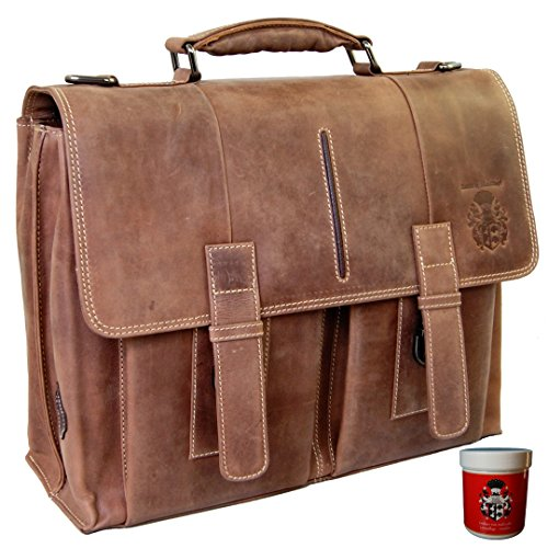 BARON of MALTZAHN Laptop bag Briefcase GUTENBERG of brown leather + leather care