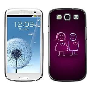 Be Good Phone Accessory // Dura Cáscara cubierta Protectora Caso Carcasa Funda de Protección para Samsung Galaxy S3 I9300 // Cute Line Couple