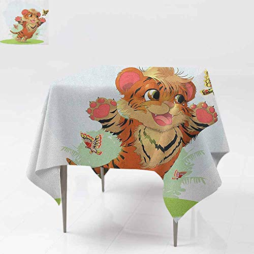 AndyTours Square Tablecloth,Cartoon,Cub Playing with Butterflies in The Meadow Joyful Lively Baby Tiger Cat,for Square and Round Tables,70x70 Inch Orange Cream Green