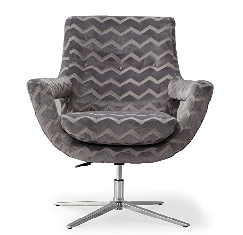 TOV Furniture The Fifi Collection Modern Style Gas Lift Seat Adjustment with 360 Degree Swivel, Grey with Chevron Pattern