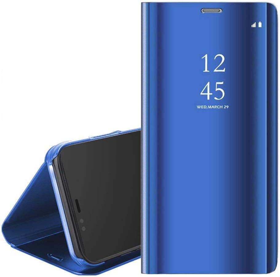 QC-EMART Étuis à Rabat pour Huawei P Smart 2019 Coque Portefeuille Folio Housse Miroir Transparent Clear View Style de Livre Antichoc Etui Protection ...