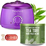 【Tea Tree Essential Oil】Yeelen Wax Warmer Essential Hard Wax Hair Removal Kit Electric Wax Heater for Face, Bikini Area, Legs with 10 Wax Applicator Sticks & 5 Wax Warmer Collar