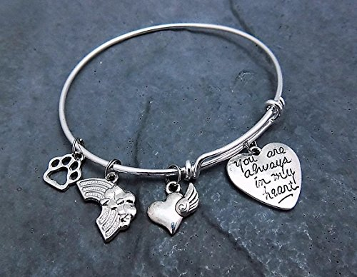 Rainbow Bridge Charm Bracelet Choice of Expandable Bangle Personalized Engraving Pet Memorial Gift