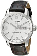 Tissot Men's T0554301601700 PRC 200 Stainless Steel Watch with Brown Leather Strap