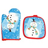 Da.Wa Christmas Cartoon Snowman Heat Resistant Cotton Oven Mitts for Cooking Baking Barbebue Potholder