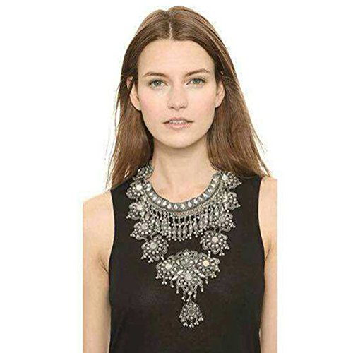Zhenhui Statement Necklace for Women  Fashion Silver Long Bohemian Indian Jewelry Oxidized Chunky Necklace for Women Big Bib Ethnic Costume Jewelry