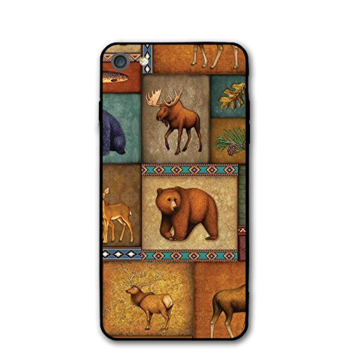 IPhone 7 Case Rustic Wildlife Bear Deer Moose Wolf Slim-Fit Anti-Scratch Shock Proof Anti-Finger Print Flexible Tpu Back Cover 4.7 Inch Thin Phone Case for $<!--$6.79-->