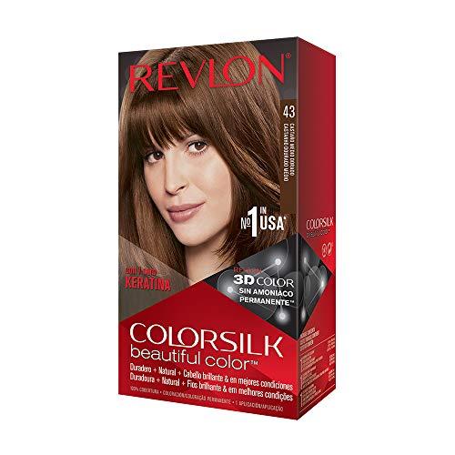 🥇 Revlon ColorSilk Tinte de Cabello Permanente Tono #43 Castaño Dorado Medio