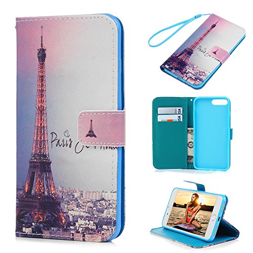 iPhone 8 plus Case, iPhone 7 plus Case - Wallet Slim Folio Style Stand Digital Print PU Leather Flip Case with High Protective Shock-Absorption TPU Inner Cover Card Slots by Badalink - Romantic Paris