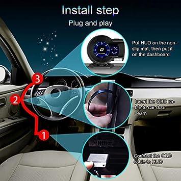 iKiKin Car Digital Dash LCD-Display mit mehreren Messger/äten HUD Gauge Boost EGT-Diagnose-Tester HUD Display OBD2 Head Up Display Auto OBD 2