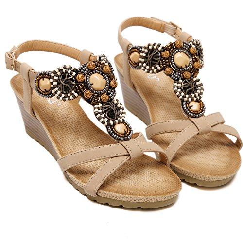 Beaded Bohemian Peep Apricot Hattie Beach Wedge Women's A Toe Summer Sandals Shoes R6gxA7fqw