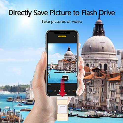 USB Flash Drive 128G Compatible iPhone iPad, Kimiandy USB Flash Drive Encrypted Memory Stick Jump Thumb Drive Compatible Android iPhone iPad PC, High Speed & Easy Transfer Pen Drive (128G Gold)