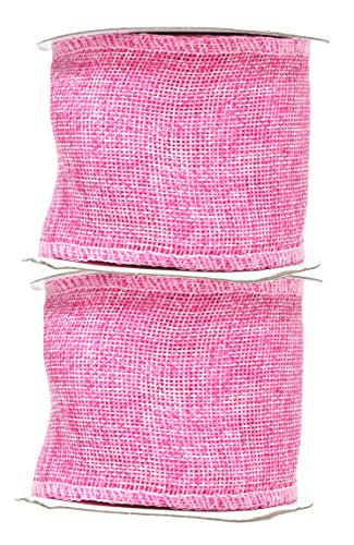 Mandala Crafts Burlap Ribbon, Jute Fabric Strip Spool for Rustic Ornament, Wreath Making, Holiday Decorating, Gift Wrapping (Pink, 3 Inches)